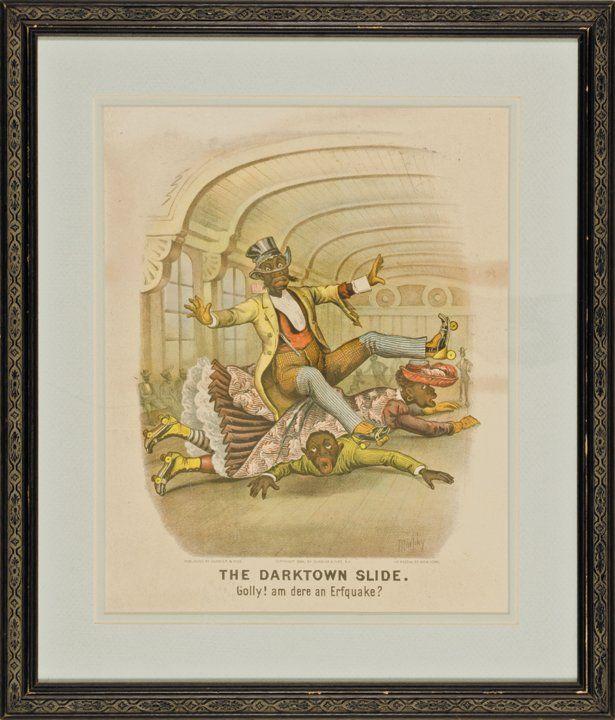 1884 Handcolored Currier + Ives, Darktown Slide