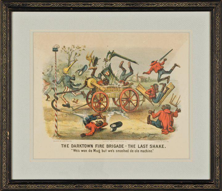 1885 Handcolored Currier + Ives Darktown Print