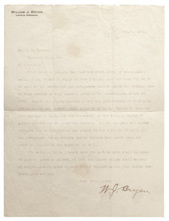 WILLIAM JENNINGS BRYAN, 1900 Typed Letter Signed