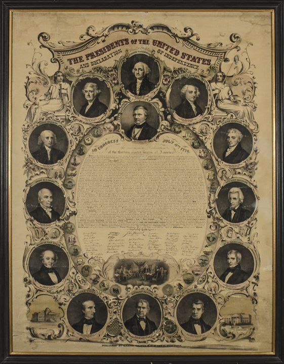 1850s DECLARATION OF INDEPENDENCE Lithograph