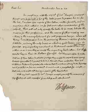 THOMAS JEFFERSON 1824 Autograph Letter 2x Signed