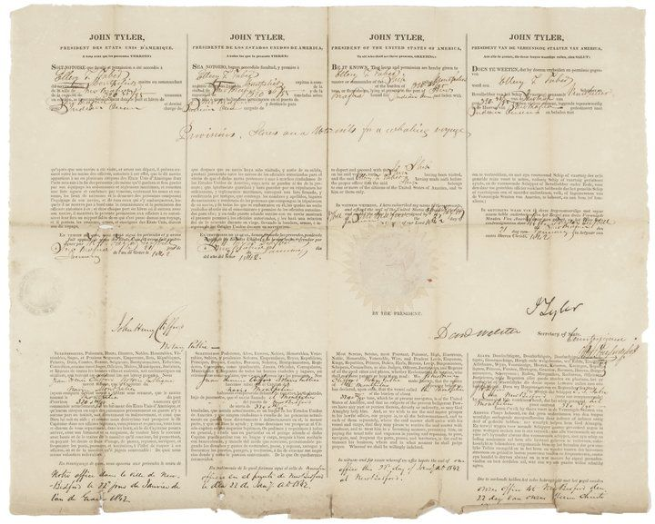 1842 JOHN TYLER Signed Whaling Ship's Passport