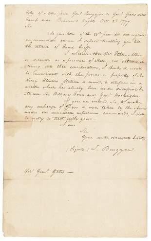 JOHN BURGOYNE 1777 ETHAN ALLEN Prisoner Letter