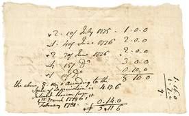 Feb. 1, 1781 Revolutionary War, Colonial Receipt