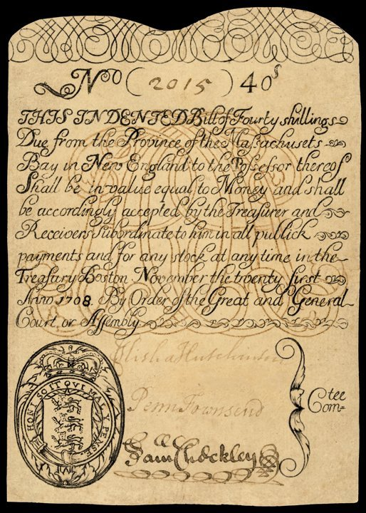 Colonial Currency, MA. 1708, 40 Shillings Note