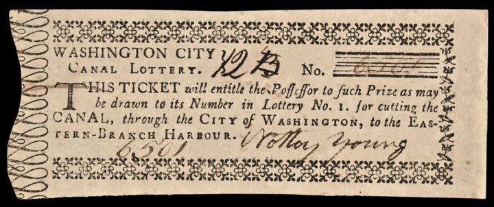 1790 Washington City Canal Lottery Ticket Ch. AU