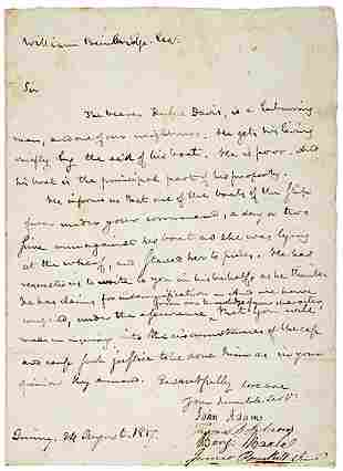 John Adams Signed Document 1817