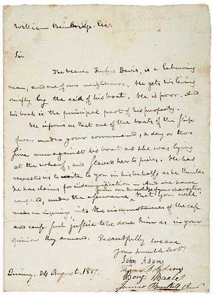Lot 2: John Adams Signed Document 1817