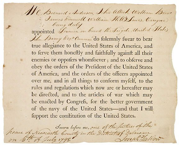 Lot 4: RARE 1798 Naval Oath of Allegiance