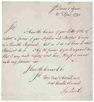 1794 Jeffrey Amherst Letter Signed