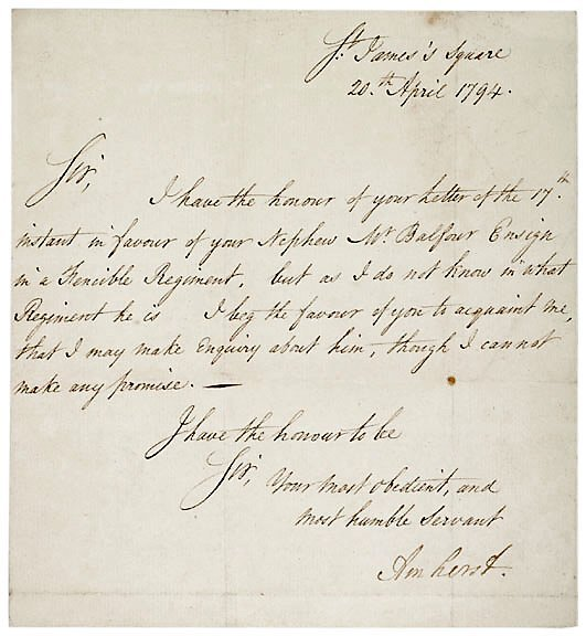 Lot 5: 1794 Jeffrey Amherst Letter Signed