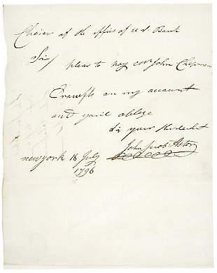 John Jacob Astor Signed Letter 1796