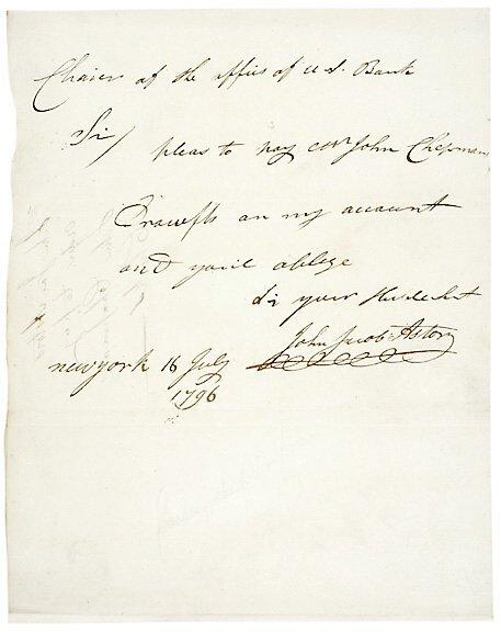 Lot 7: John Jacob Astor Signed Letter 1796