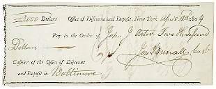 John Jacob Astor Signed Check 1804