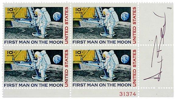 Lot 9: Astronaut Alan Bean Signed Stamps