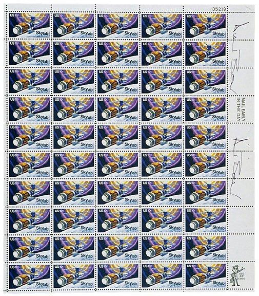 Lot 10: Astronaut Alan Bean Signed Stamps