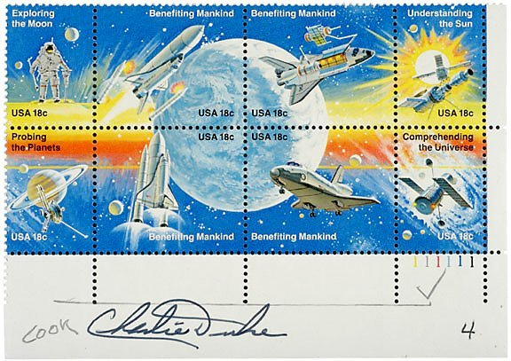 Lot 11:Astronaut Charlie Duke Signed Stamps