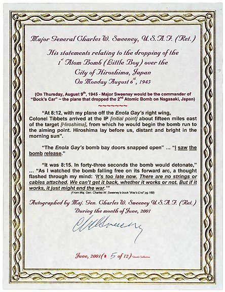 Lot 14: A-Bomb Pilot Signed Document