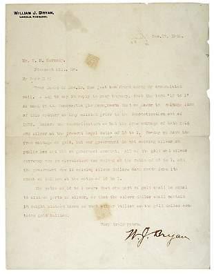 Lot 23:William Jennings Bryan Letter Signed