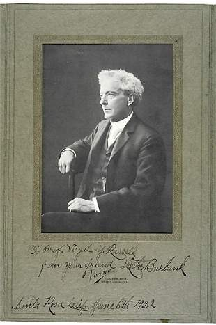 Luther Burbank Signed Photo 1922