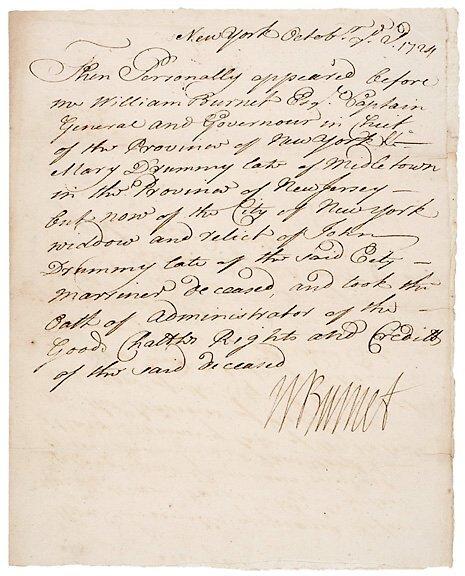 Lot 25: William Burnet Signed Document 1724