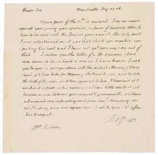 THOMAS JEFFERSON Autograph Letter About IRA ALLEN