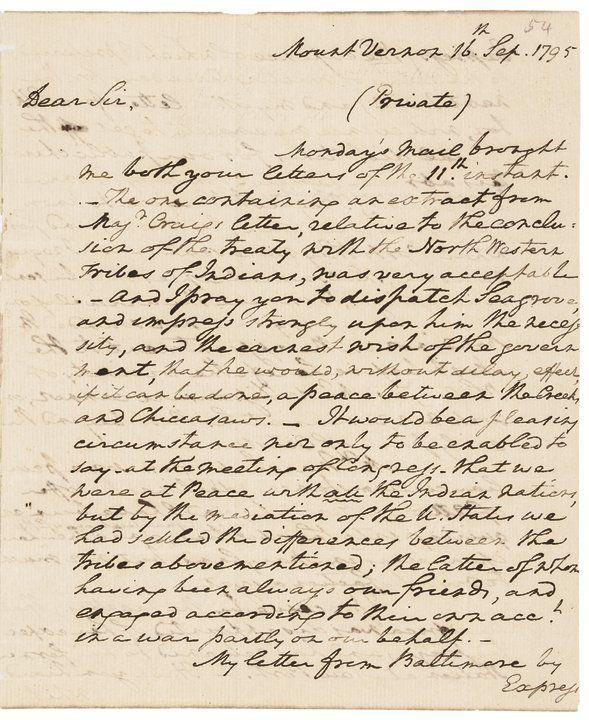 1795 GEORGE WASHINGTON Historic Autograph Letter