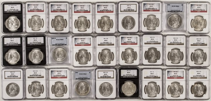 27 Mixed Date Certified MS-63 Morgan Dollars
