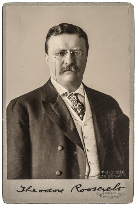 Cabinet Photograph Signed By THEODORE ROOSEVELT