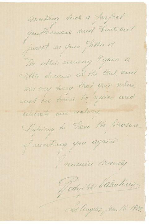 Rare RUDOLPH VALENTINO 1923 Autograph Letter - 2