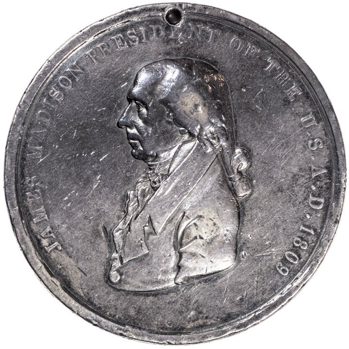 SILVER JAMES MADISON INDIAN PEACE MEDAL Rarity
