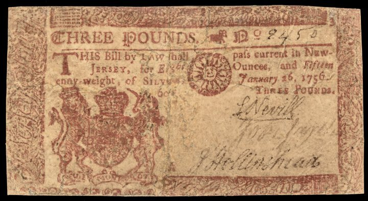 Colonial Currency NJ Jan 26, 1756 Red Finest PMG