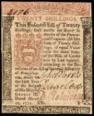 Colonial Currency. PA. March 20, 1771. 20s Ch VF
