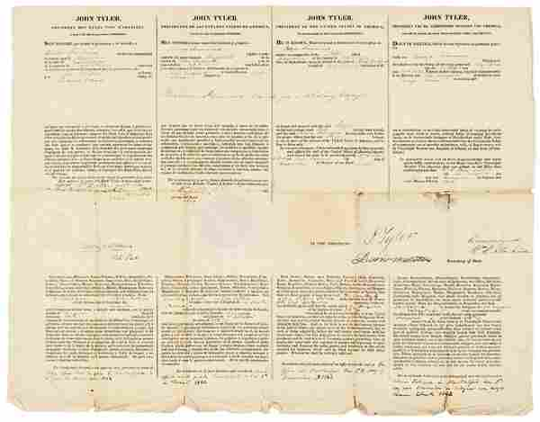 JOHN TYLER Partially-Printed Document Signed