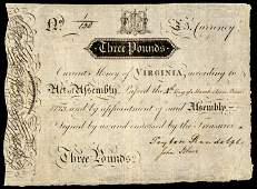 Colonial Currency VA 1773 PEYTON RANDOLPH Signed
