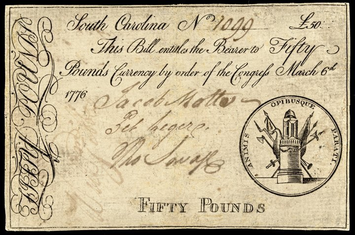 Colonial Currency SC March 6, 1776 50 Pound Note