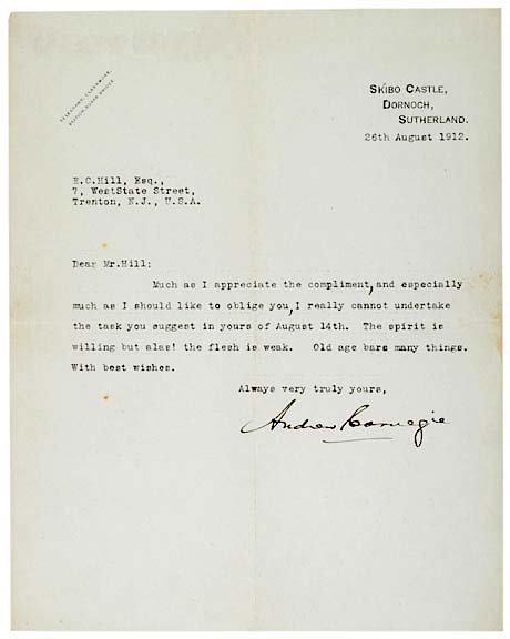 2006: ANDREW CARNEGIE, Signed Letter 1912