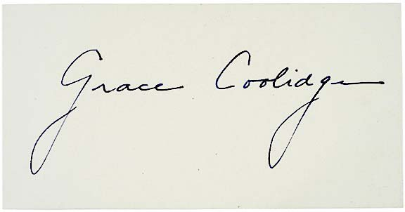 2010: GRACE COOLIDGE, First Lady, Courtesy Autograph