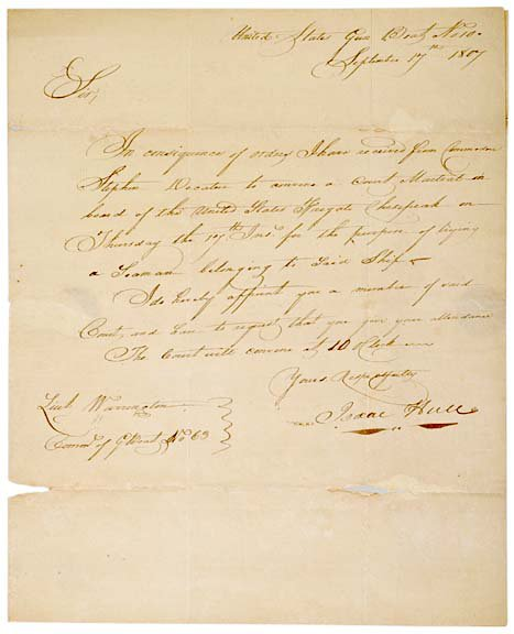 2017: ISAAC HULL, Letter Signed, 1807