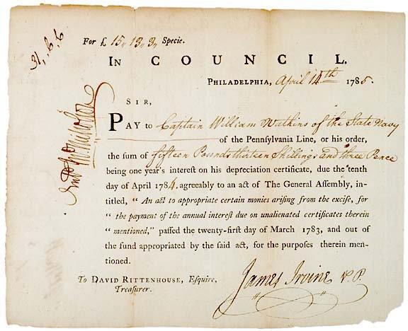 2018: JAMES IRVINE, Signed Document, 1785