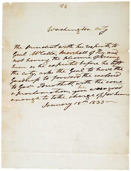 2019: ANDREW JACKSON, Autograph Handwritten Letter