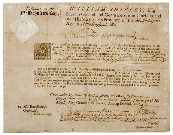 2037: WILLIAM SHIRLEY, Document Signed, 1749