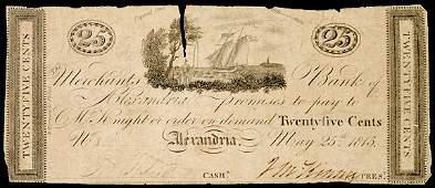 2425: Obsolete Currency, DC, Merchants, Alexandria 25¢