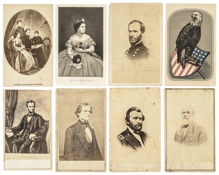 Eight Civil War Era CDVs Abraham Lincoln + Grant
