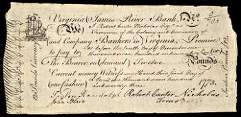 Colonial Currency PEYTON RANDOLPH Signed VA Note