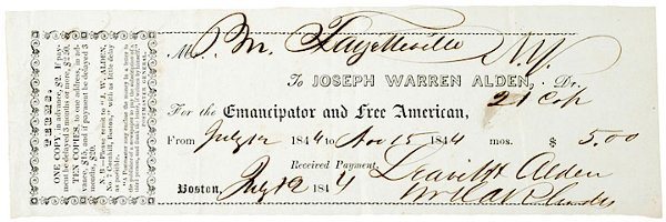1: ABOLITIONISM: 1844 Receipt for THE EMANCIPATOR...