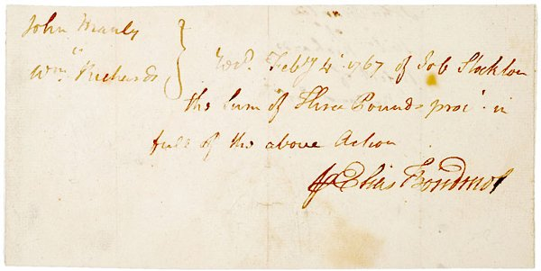 11: ELIAS BOUDINOT, 1767, Signed Document