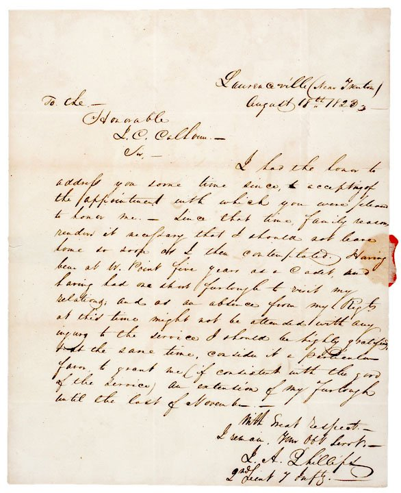 19: Letter Addressed to JOHN C. CALHOUN, 1823