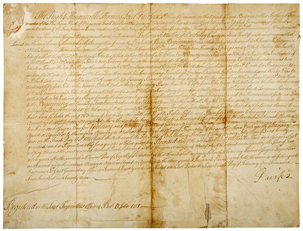 83: THOMAS, LORD FAIRFAX, 1779, Land Grant Signed