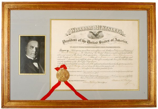 94: WILLIAM McKINLEY, Document Signed